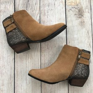 Vince Camuto Leather Glitter Madelline Booties 6.5